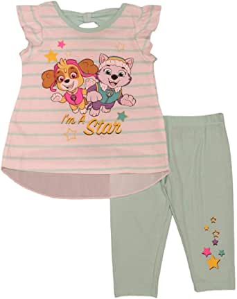 Nick Jr Paw Patrol Little Girls' Skye and Everest Bow Back Leggings Set