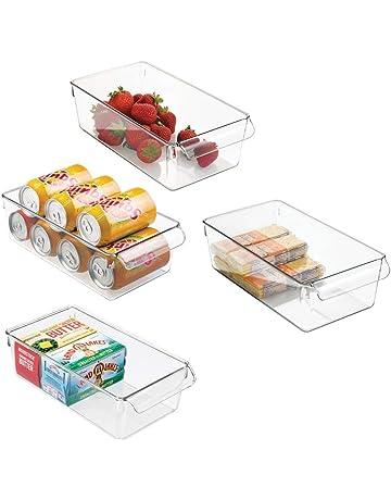 mDesign Cajas organizadoras grandes con asa - cajas plasticas ideales para  cocina aedd2cd990a5