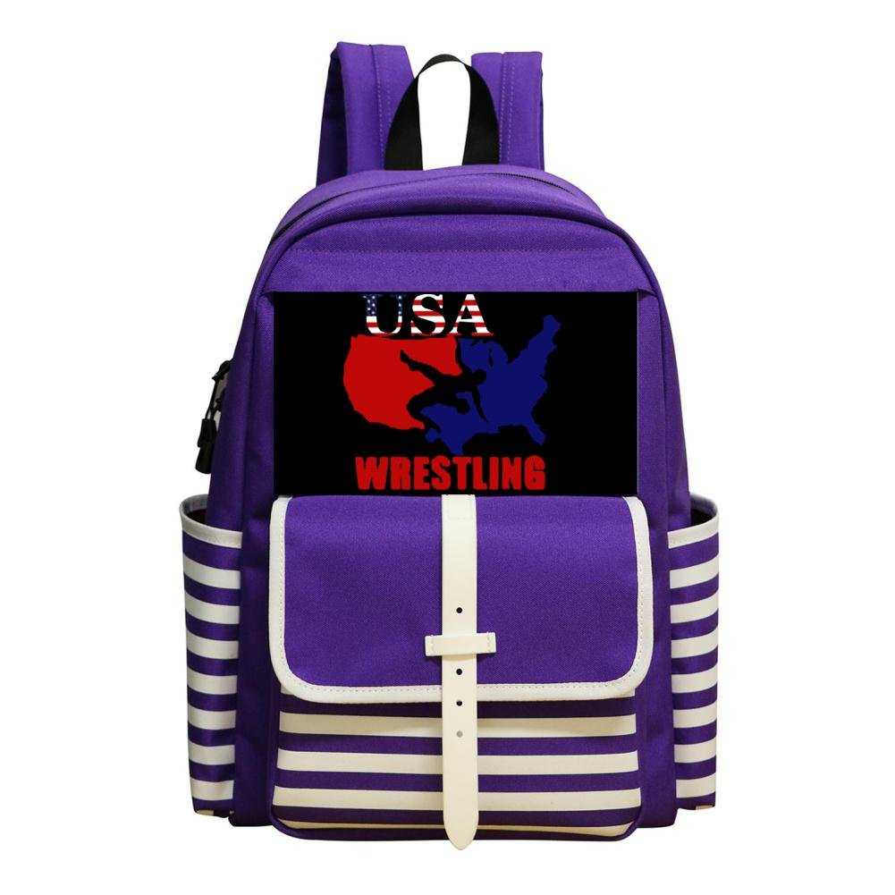 HUANSHAA USA Wrestling Custom School Backpack Bookbag Daypack Shoulder Bag by HUANSHAA