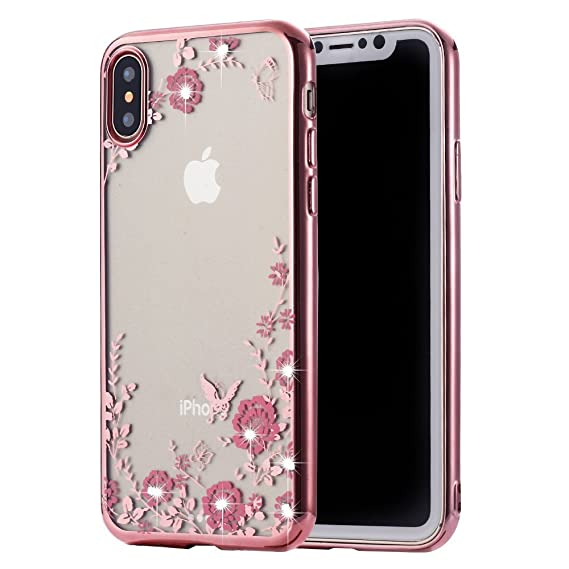 best service 8e2b1 3dc01 iPhone X Floral Case, Miniko(TM) Beauty Luxury Butterfly Pink Flower Shiny  Frame Plating Bumper Soft Flexible TPU Transparent Case with Rhinestone ...