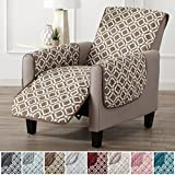 Modern Printed Reversible Stain Resistant Furniture Protector with Geometric Design. Perfect Cover for Pets and Kids. Adjustable Elastic Straps Included. Liliana Collection (Recliner, Fossil Brown)