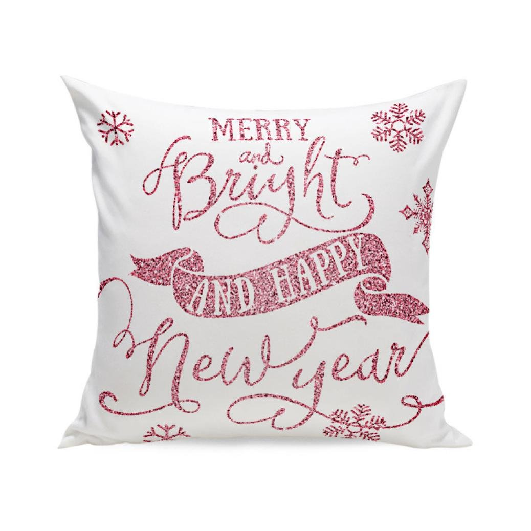 "lovely Challyhope Christmas Printed Super Soft Throw Pillow Case Home Decorative Cushion Pillow Cover Shell (White F, 17.71"" x 17.71"")"