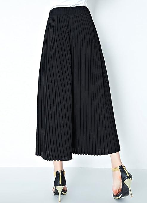 ELLAZHU Women New Elastic Waist Wide Leg Pleated Capri Pants GA136 XL:  Amazon.co.uk: Clothing