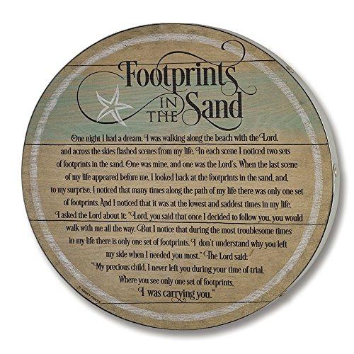 Footprints in the Sand Barrel Lid Plaque