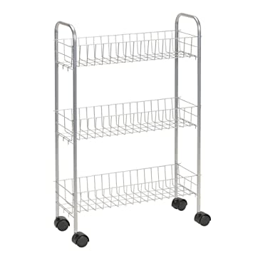 Awesome Household Essentials 7011 Slim Line 3 Tier Metal Storage Cart | Satin Silver