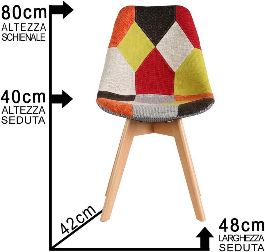Maury's Sedie in Legno e Tessuto Patchwork Ideali per Sala da Pranzo Cucina Ufficio (Set 4 Sedie, Patchwork) (Fiamma)