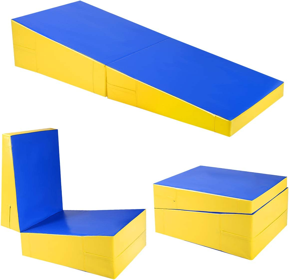 HI-MAT Cheese Mat Incline Wedge Mat 47x24x14 Gymnastics Ramp Cheese Slope Mat Skill Shape Tumbling Mat Gym Fitness