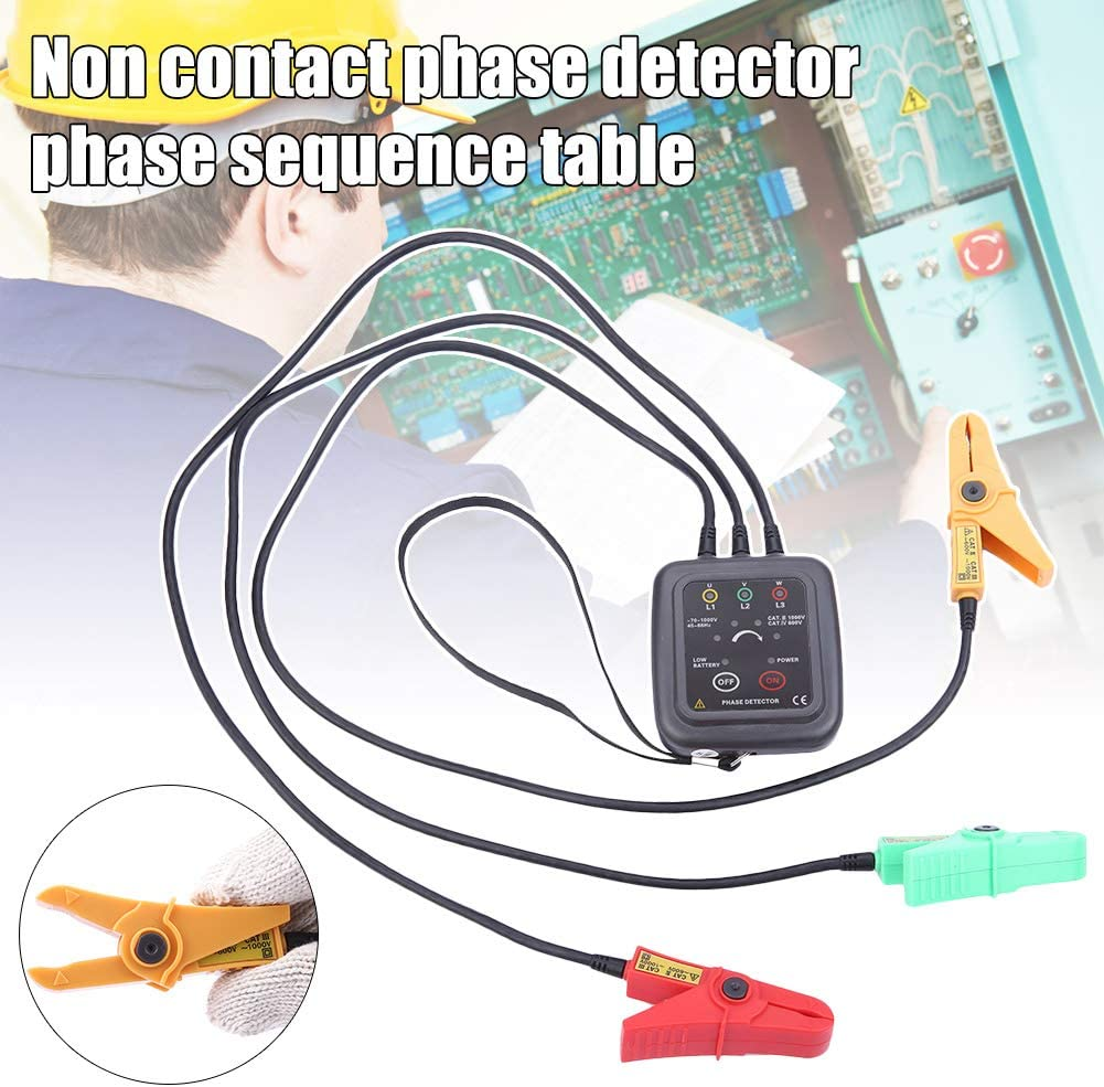 Liamostee Digital LED Display 3 Phase Sequence Meter Phase Detector Monitor Indicator Non-Contact Test Tool
