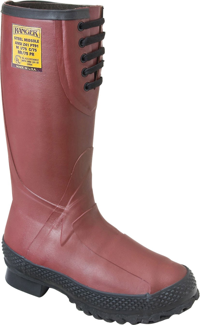 Ranger 16'' Heavy-Duty Men's Rubber Insulated Work Boots with Steel Toe and Metatarsal Guard, Red & Black (9810) by Honeywell