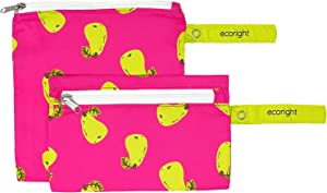 100% RECYCLED Reusable Snack Bags and Sandwich Bag for Kids, Adults by EcoRight   Food Grade & BPA Free   Reusable Food Pouches & Lunch Bags   Set of 2