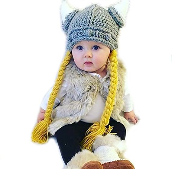 Amazoncom Kids Crochet Viking Hat With Braids And Horns For Baby