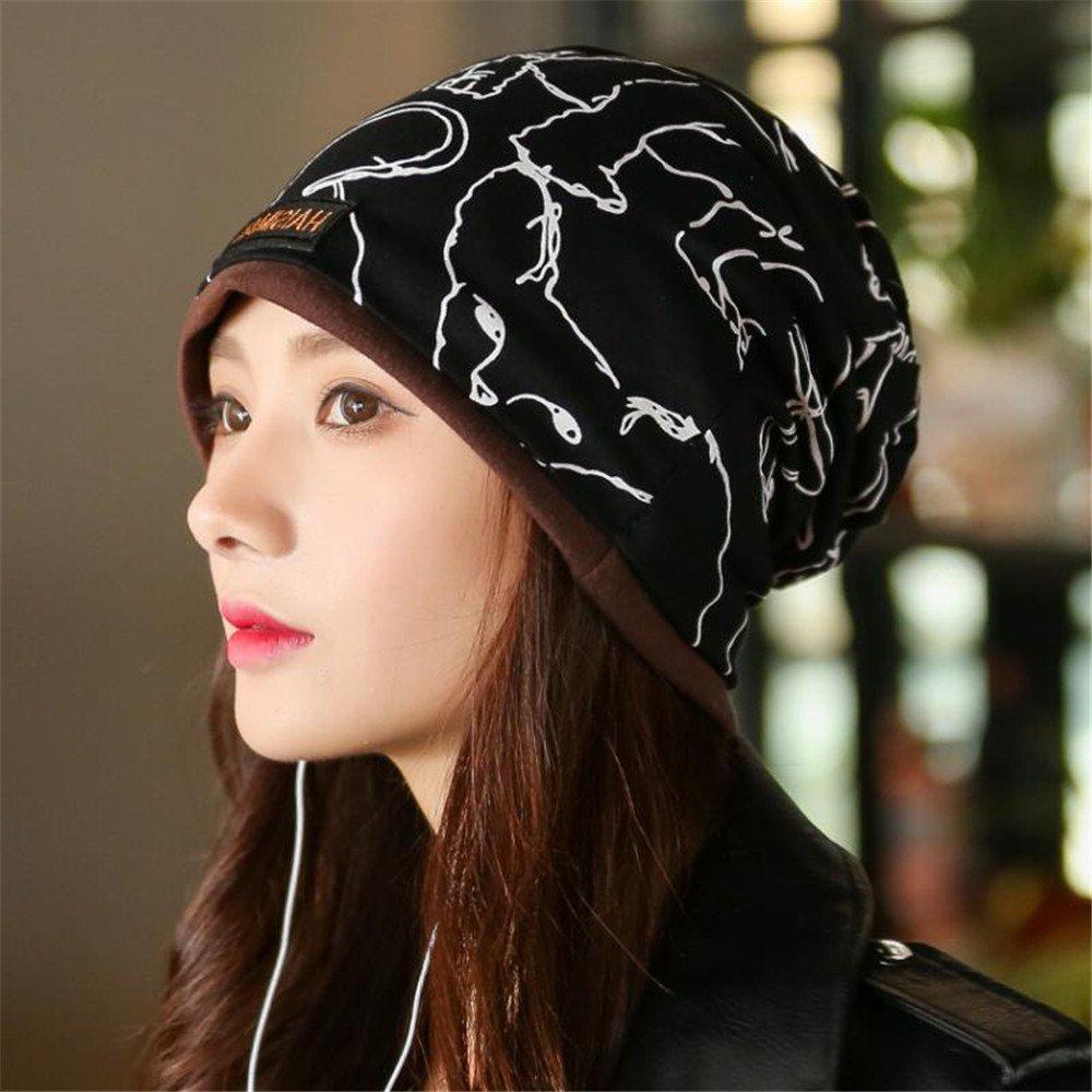 Hat female postpartum confinement in autumn and winter all-match dual-purpose collar Baotou leisure scarf thickening set head cap,Animal pattern black