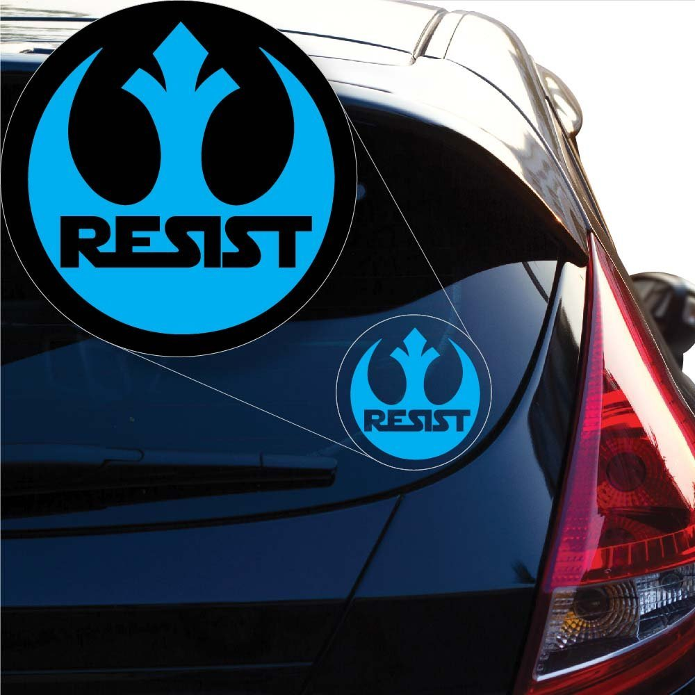 4 x 3.9, White Laptop and More Yoonek Graphics Rebel Alliance Resist Star Wars inspired Decal Sticker for Car Window # 1053