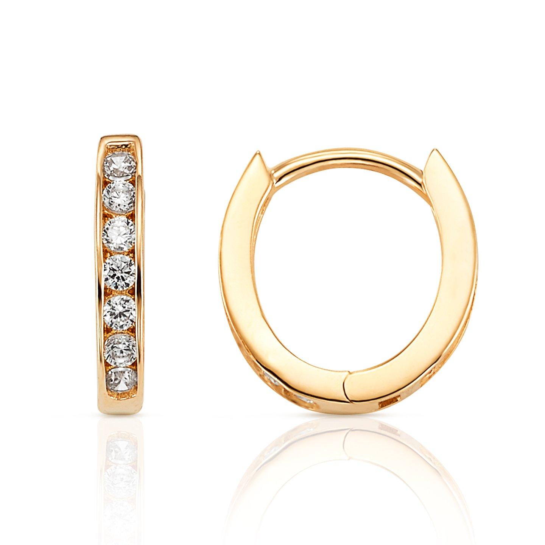 14K Yellow Gold Oval Hoop Huggie Earring With CZ Stones