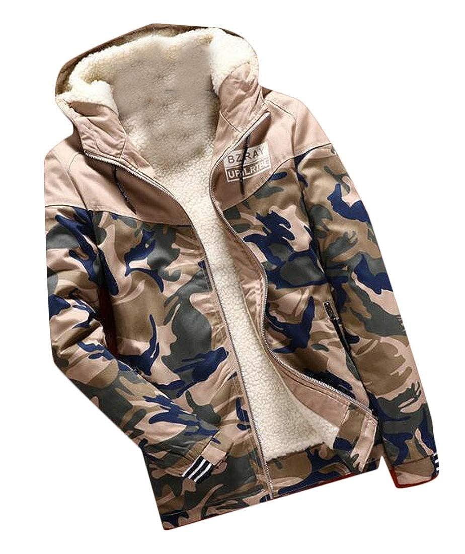 Nanquan Men Outwear Fleece Print Camo Hoodie Zip-Front Parka Coat