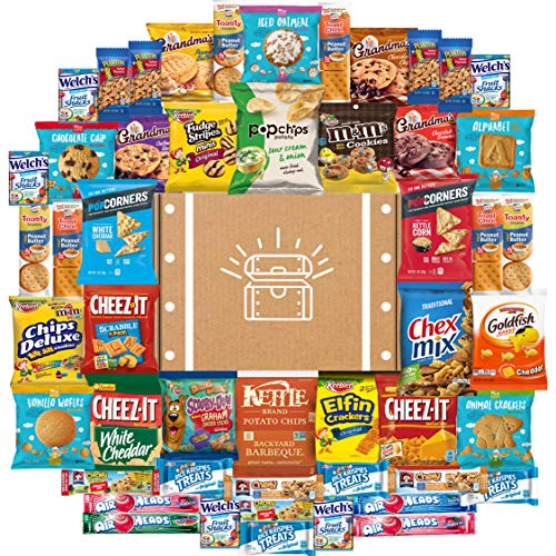 Cookies, Chips & Candies Ultimate Snacks Care Package Bulk Variety Pack Bundle Sampler (50 Count) (Basket Care)