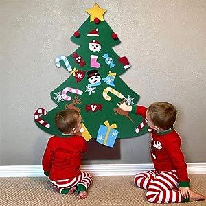 B bangcool DIY Felt Christmas Tree with 26Pcs Xmas Ornaments 3.2ft DIY Christmas Tree Wall Hanging Xmas Gifts Christmas Decorations