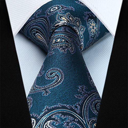 Square HISDERN Floral Pocket Paisley Set Party Necktie Men's amp; Yellow Wedding Prom Tie Handkerchief Aqua PPpw4