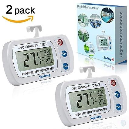 [versión actualizada] 2 unidades Termómetro Digital para refrigerador suplong IPX3 impermeable congelador habitación termómetro