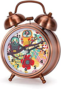GIRLSIGHT Alarm Clock for Bedroom, Silent Non Ticking Double Twin Bell Child Alarm Clock Loud Home Alarm Clock with I Love Owls Kid's Dial