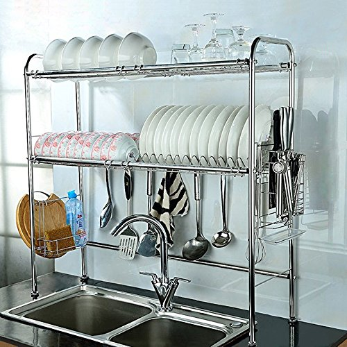 Dish Stand (NEX 2-Tier Stainless Steel Dish Rack Nonslip Height Adjustable with Chopstick Holder (Double Groove))