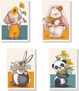 Facioro Animal Canvas Wall Art, Boho Nursery Decor for Boys, Baby Room Decor, Safari Baby Animals Nursery Decor Art, Safari Nursery Decor, Jungle Nursery Decor Wall Art, Kids Wall Decor (04)