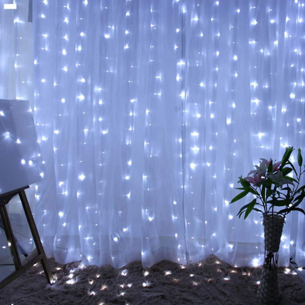 luces de hada con 8 modos azul 300 ledes cobre Cortina de luces LED Twinkle Lights 3 * 3M