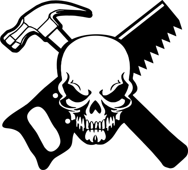 Carpenter Skull Construction Worker Builder Car Truck Window Vinyl Decal Sticker
