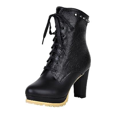 329e141a381372 Agodor Damen Blockabsatz Ankle Boots High Heels Plateau Stiefeletten mit  Schnürung und Reißverschluss Elegant Schuhe