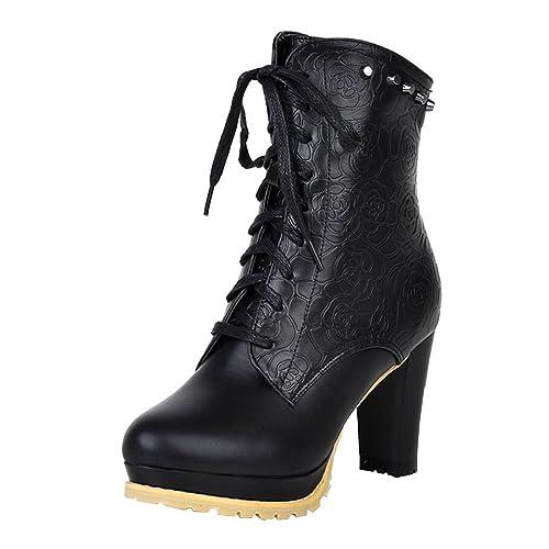 Agodor Damen Blockabsatz Ankle Boots High Heels Plateau Stiefeletten mit Schnürung und Reißverschluss Elegant Schuhe
