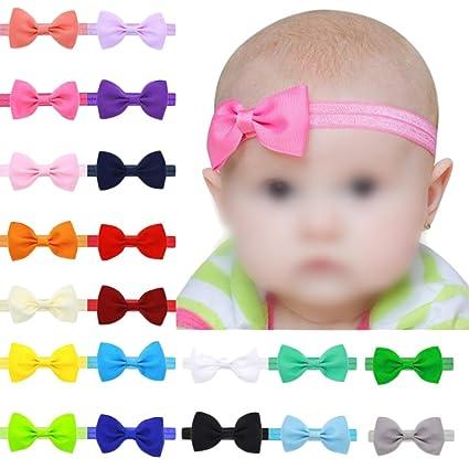 beb7f230e Hosaire 17 Piezas Bebé Bowknot Mini Diadema Elástica Venda para niños  niñas(Color aleatorio)