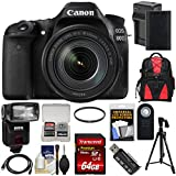 Canon EOS 80D Wi-Fi Digital SLR Camera & EF-S 18-135mm is USM Lens 64GB Card + Battery & Charger + Backpack + Filter + Tripod + Flash + Kit