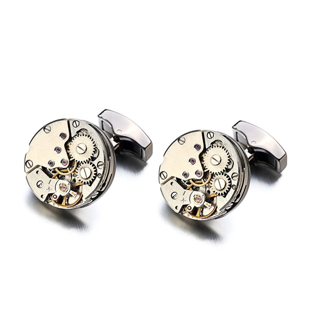 Cufflinks Men's Silver Rounded Steampunk Machinery with Elegant Box(17mm)