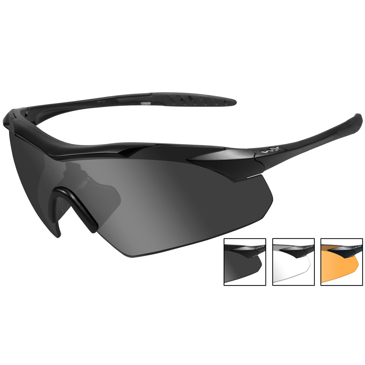 and Light Rust Lens Wiley X WX Vapor Sunglasses Smoke Grey Clear