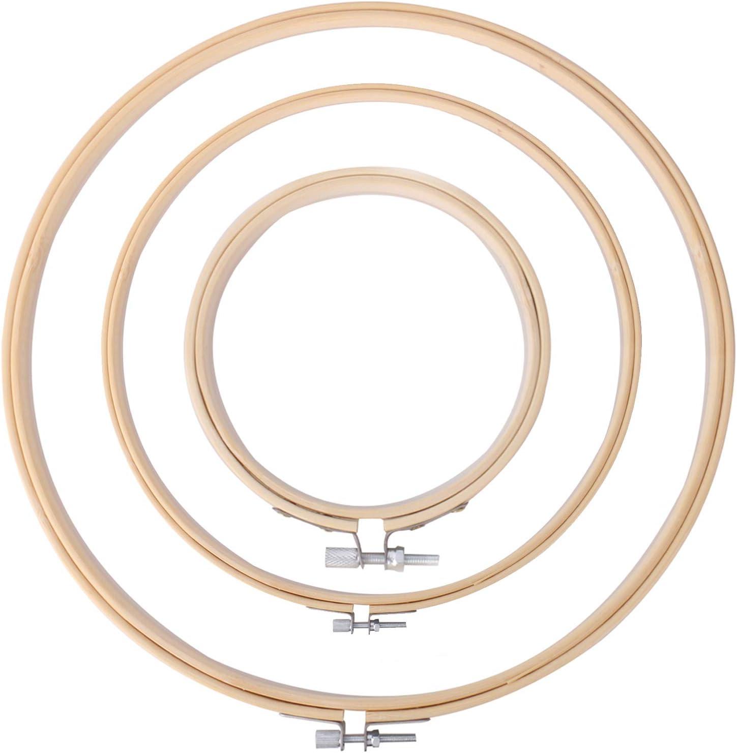 Lorenlli Bamboo Cross Stitch Hoops Runde Stickrahmen Hoop Verstellbarer Bamboo Circle Cross Stitch Hoop Holzstickkreis