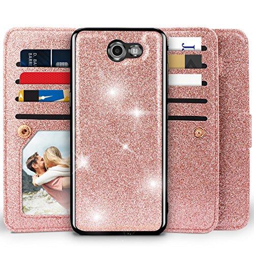 - Miss Arts [Detachable] Magnetic Glitter Wallet Case, 9 Card Slots Cover for Samsung Galaxy J3 Prime/ J3 Emerge/Express Prime 2/ Amp Prime 2/ J3 Mission/ J3 Eclipse/ J3 Luna Pro/Sol 2/ J3 2017