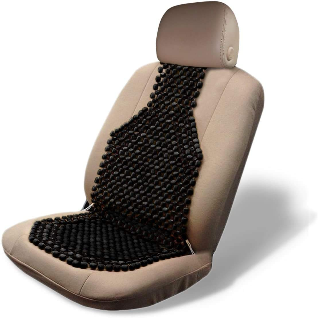 Zone Tech Wood Beaded Seat Cushion - Black Premium Quality Car Massaging Double Strung Wood Beaded Seat Cushion for Stress Free All Day!