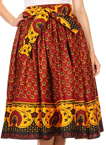 Circle Polished Full (Sakkas 16321 - Celine African Dutch Ankara Wax Print Full Circle Skirt - 1128-Red - OS)