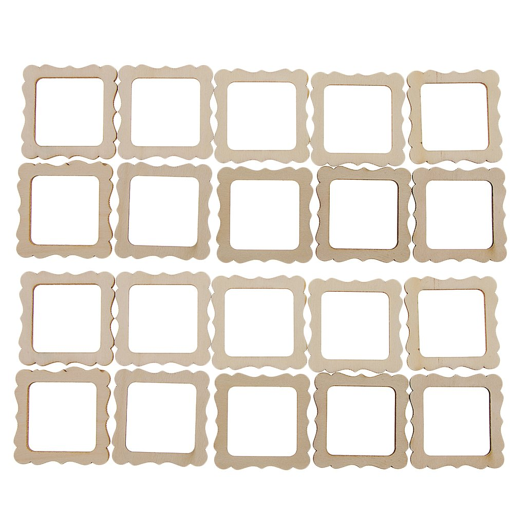 Homyl 20 Pieces 50x50mm Square Wooden Shape Vintage DIY Cutouts Wooden Frame Mini Photo Frame for Scrapbooking Crafting DIY Wind Chimes Wedding Home Decorations