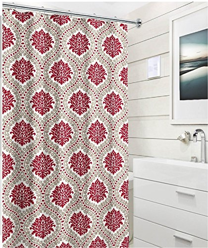 red and white shower curtain - 8