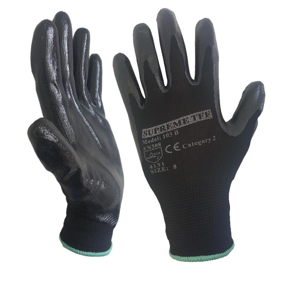 24 Pairs Black Nitrile Coated Nylon Safety Work Garden Gloves Builders Mens Gardening (Medium) Supreme TTF