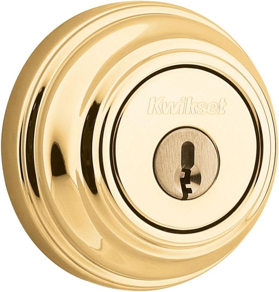 Kwikset 660 3 SMT RCAL RCS K3 1-Cyl Deadbolt Bright Brass