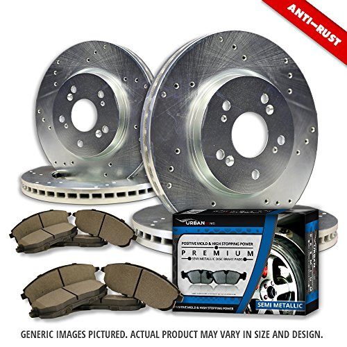 [(F+R Full Kit)4 Heavy Duty Zinc Plated Cross Drill Rotors + 8 Semi-Met Pad(5lug)-Combo Brake Kit] (Oem Full Kit)