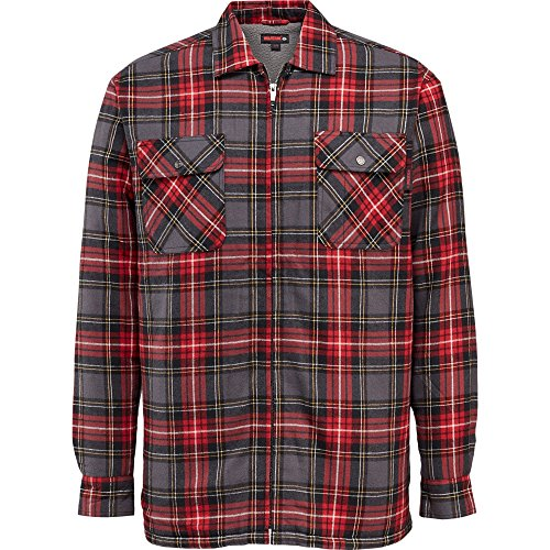 Wolverine Men's Marshall Full Zip Sherpa Lined Shirt Jacket, Red Plaid, Medium