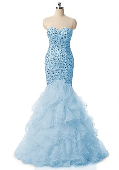Promworld Womens Sweetheart Mermaid Rhinestone Long Prom Dress Ball Gowns Blue US2