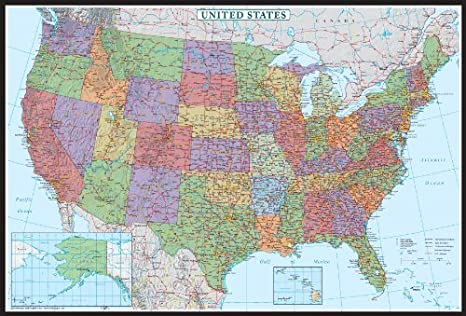United States, USA US Decorator Wall Map Poster Mural (48x70 Laminated)