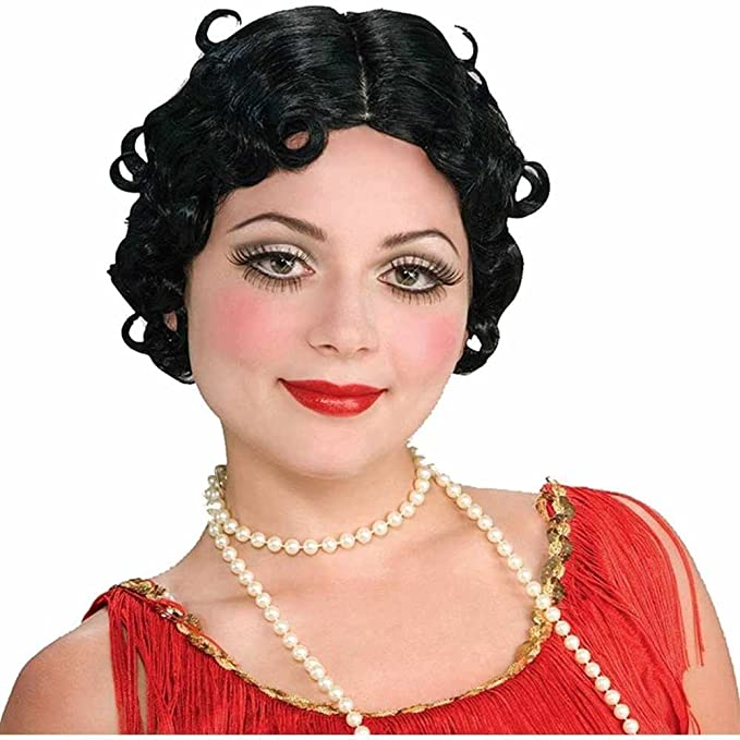 1930s Costumes- Bride of Frankenstein, Betty Boop, Olive Oyl, Bonnie & Clyde Flirtin Flapper Wig - Black $8.00 AT vintagedancer.com