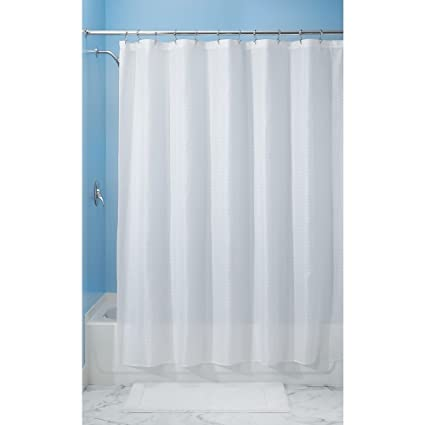 InterDesign 96 Inch Carlton Spa Long Shower Curtain White