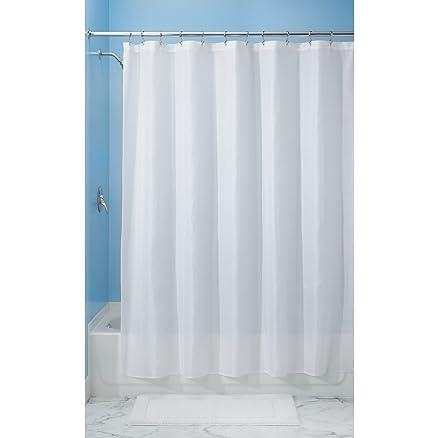 InterDesign 96 Inch Carlton Spa Long Shower Curtain White