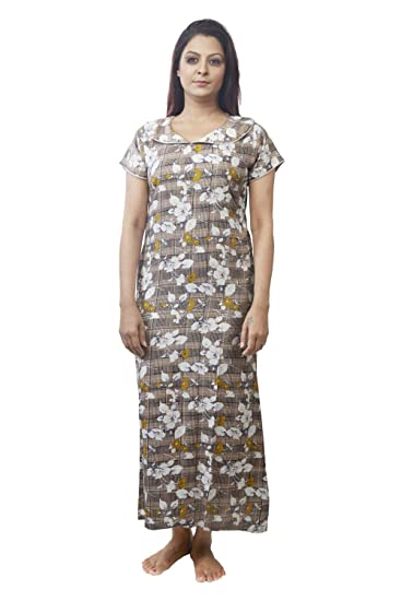 cd6829a567 IMJI Floral Printed Checks Peter Pen Collar with Pocket Long Nighty for  Woman (Small)